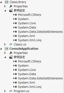 コンソール アプリケーションとクラス ライブラリで参照している .NET