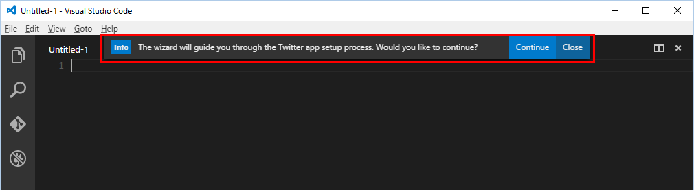 """Twitter Client"" のウィザードの開始画面"